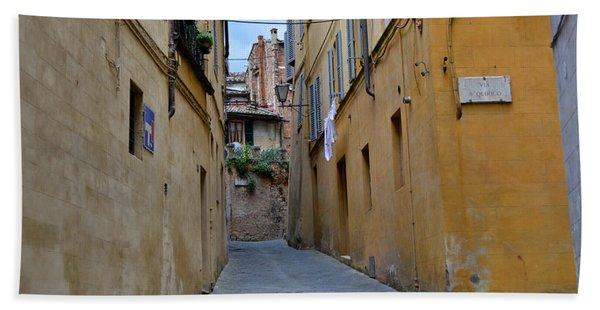Tiny Street In Siena Bath Towel