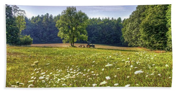 Tractor In Field With Flowers Hand Towel