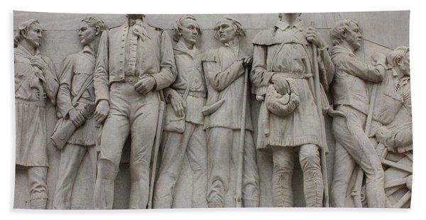 Travis And Crockett On Alamo Monument Hand Towel
