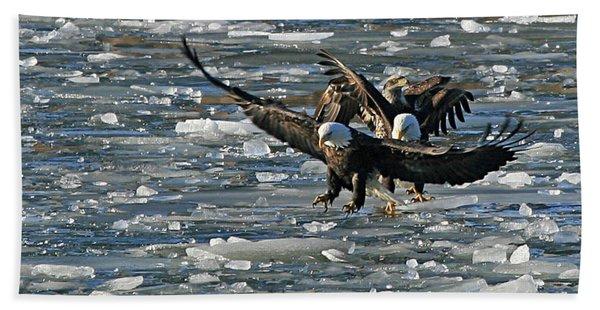 Tree Eagles On Ice Hand Towel