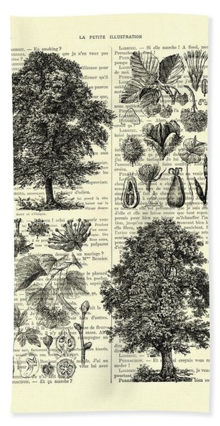 Trees And Seeds Black And White Bath Towel