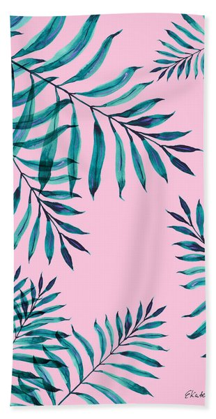 Tropical Greenery On Pink Bath Towel
