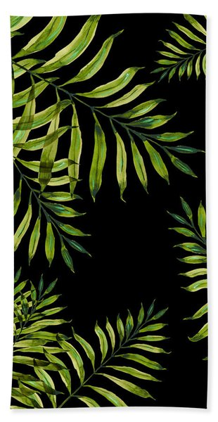 Tropical Night - Greenery On Black Bath Towel