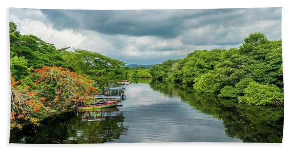 Cloudy Skies Over The River Bath Towel