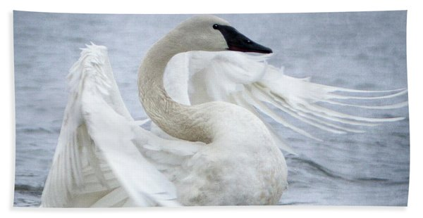 Bath Towel featuring the photograph Trumpeter Swan - Misty Display 2 by Patti Deters
