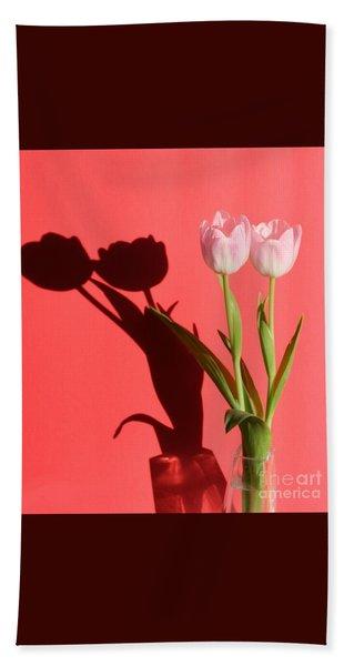 Tulips Casting Shadows Bath Towel