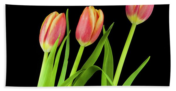 Tulips On Black Bath Towel