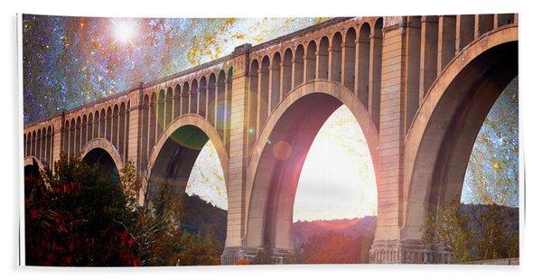 Tunkhannock Viaduct, Nicholson Bridge, Starry Night Fantasy Hand Towel