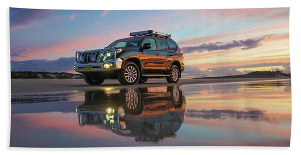 Twilight Beach Reflections And 4wd Car Hand Towel