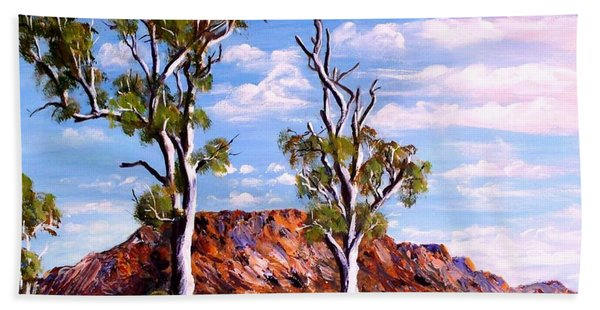 Twin Ghost Gums Of Central Australia Bath Towel