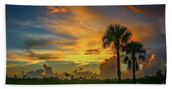 Bath Towel featuring the photograph Two Palm Silhouette Sunrise by Tom Claud