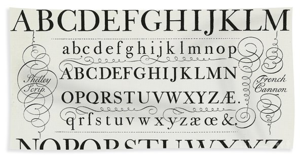 Typefaces From The Script Of George Shelley Hand Towel