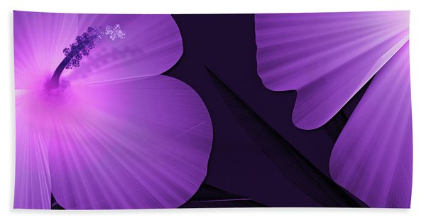 Ultraviolet Hibiscus Tropical Nature Print  Hand Towel