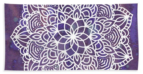 Bath Towel featuring the digital art Ultraviolet Mandala by Bee-Bee Deigner