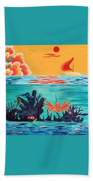 Bright Coral Reef Bath Towel
