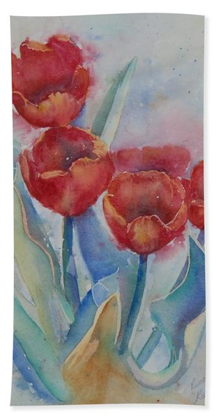 Hand Towel featuring the painting Undersea Tulips by Ruth Kamenev