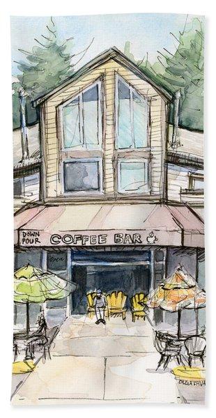 Coffee Shop Watercolor Sketch Bath Towel