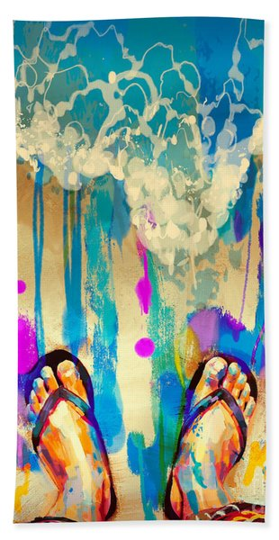 Hand Towel featuring the painting Vacation Time by Tithi Luadthong