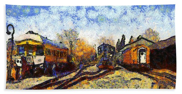 Van Gogh.s Train Station 7d11513 Bath Towel