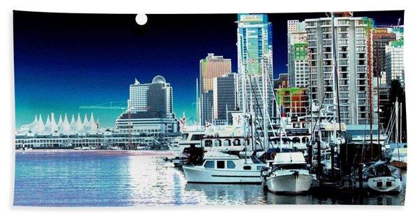 Vancouver Harbor Moonrise  Hand Towel