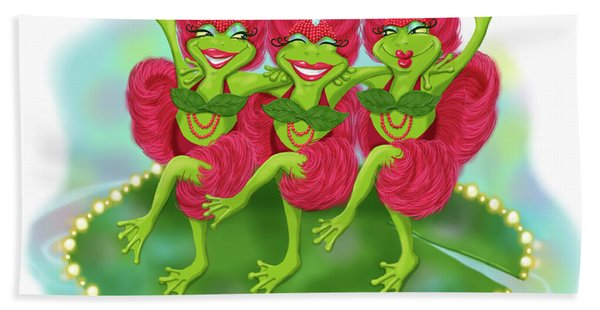Vegas Frogs Showgirls Bath Towel