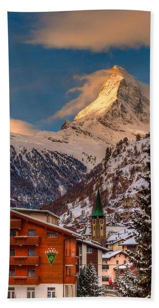 Village Of Zermatt With Matterhorn Hand Towel
