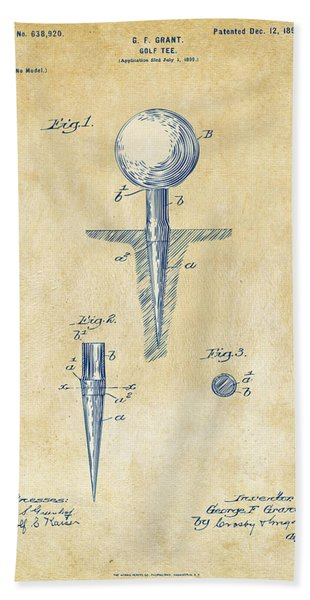 Vintage 1899 Golf Tee Patent Artwork Bath Towel