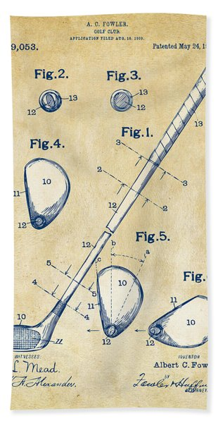 Vintage 1910 Golf Club Patent Artwork Bath Towel