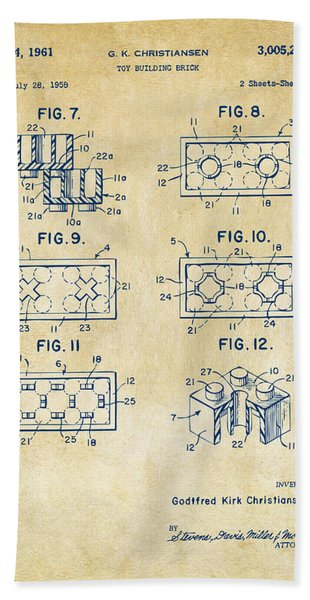 Vintage 1961 Lego Brick Patent Art Bath Towel