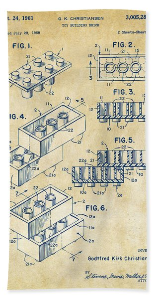 Vintage 1961 Toy Building Brick Patent Art Bath Towel