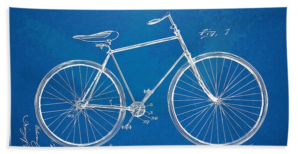 Vintage Bicycle Patent Artwork 1894 Bath Towel