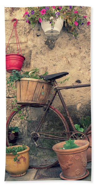Vintage Bicycle Used As A Flower Pot, Provence Bath Towel