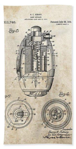 Vintage Hand Grenade Patent Bath Towel