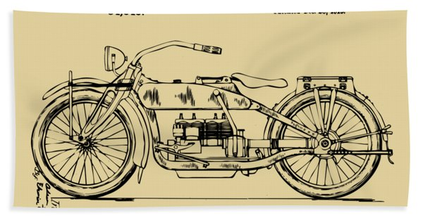 Vintage Harley-davidson Motorcycle 1919 Patent Artwork Bath Towel