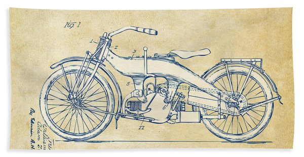 Vintage Harley-davidson Motorcycle 1924 Patent Artwork Bath Towel
