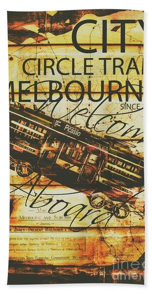 Vintage Melbourne Tram Tin Sign Hand Towel