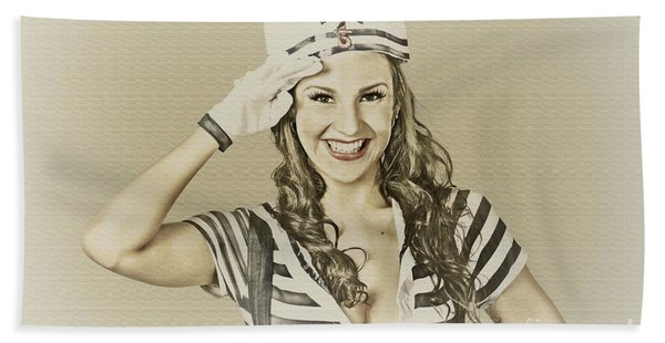 Vintage Navy Sailor Pin Up Girl  Hand Towel