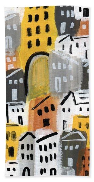 Waiting For Autumn- Expressionist Art Bath Towel