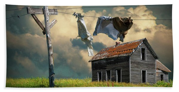 Wash On The Line By Abandoned House Hand Towel