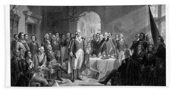 Washington Meeting His Generals Bath Towel