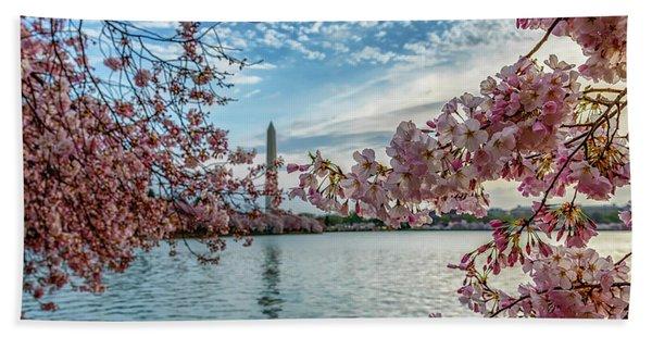 Washington Monument Through Cherry Blossoms Hand Towel