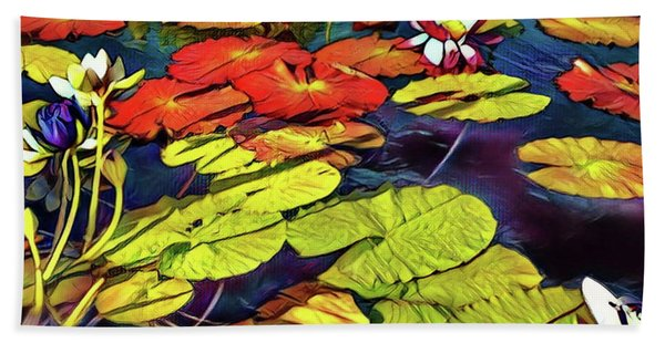 Water Lilly Pond Bath Towel