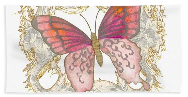 Watercolor Butterfly With Vintage Swirl Scroll Flourishes Hand Towel