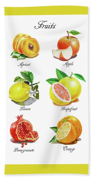 Watercolor Fruit Illustration Collection I Hand Towel