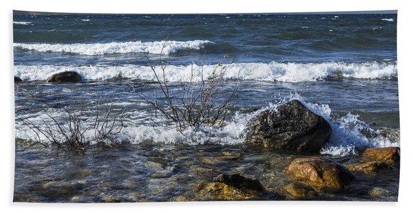 Waves Crashing Ashore At Northport Point On Lake Michigan Hand Towel
