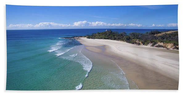 Waves Rolling In To North Point Beach On Moreton Island Hand Towel