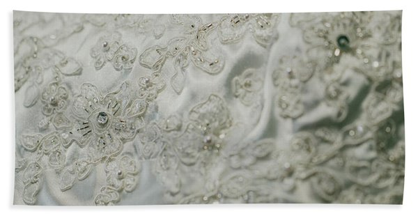 Wedding Dress Floral Beadwork Bath Towel