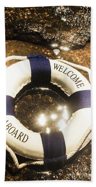 Welcome Aboard Nautical Paradise Hand Towel