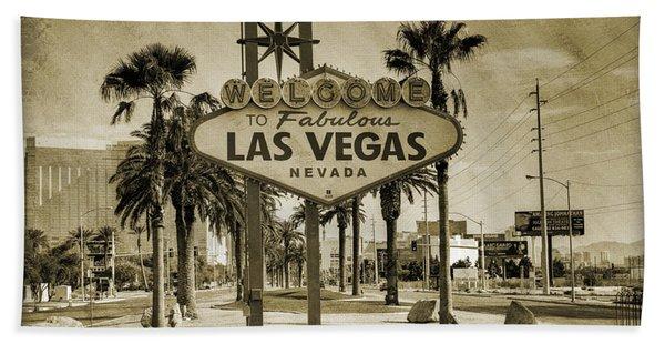 Welcome To Las Vegas Series Sepia Grunge Hand Towel
