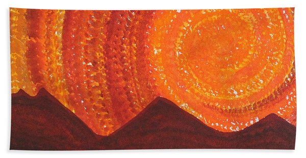 Western Sky Wave Original Painting Bath Towel